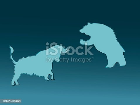 Symbolical image stock price digital currency, bull and bear.