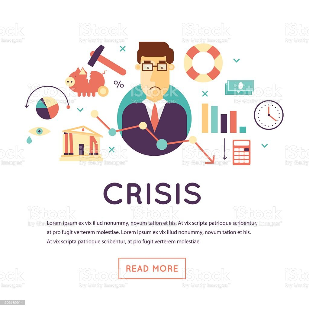 Crisis economic vector art illustration
