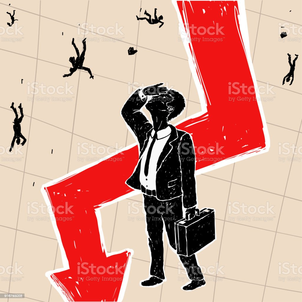Crisis Financial on Stock Exchange vector art illustration