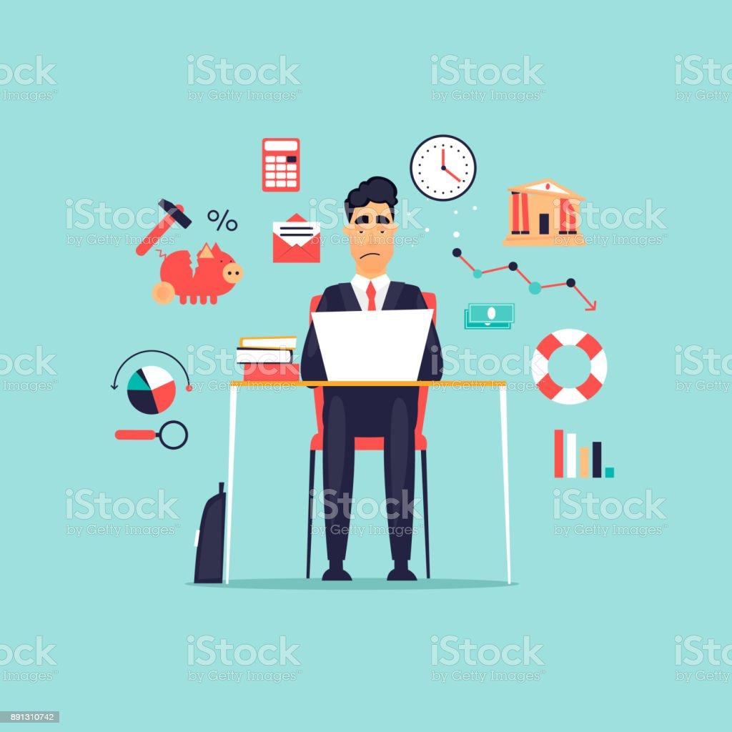 Krise, frustriert Geschäftsmann arbeiten am Computer, Icon-Set. Flaches Design-Vektor-Illustration. – Vektorgrafik