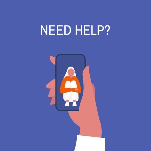 kriz yardım hattı. yardıma mı ihtiyacın var? el ele tutuşan bir akıllı telefon. yeni teknolojiler. terapi. randevu. akıl sağlığı. millennials. genç yalnız kadın karakter dizlerine sarılıyor. - therapist stock illustrations