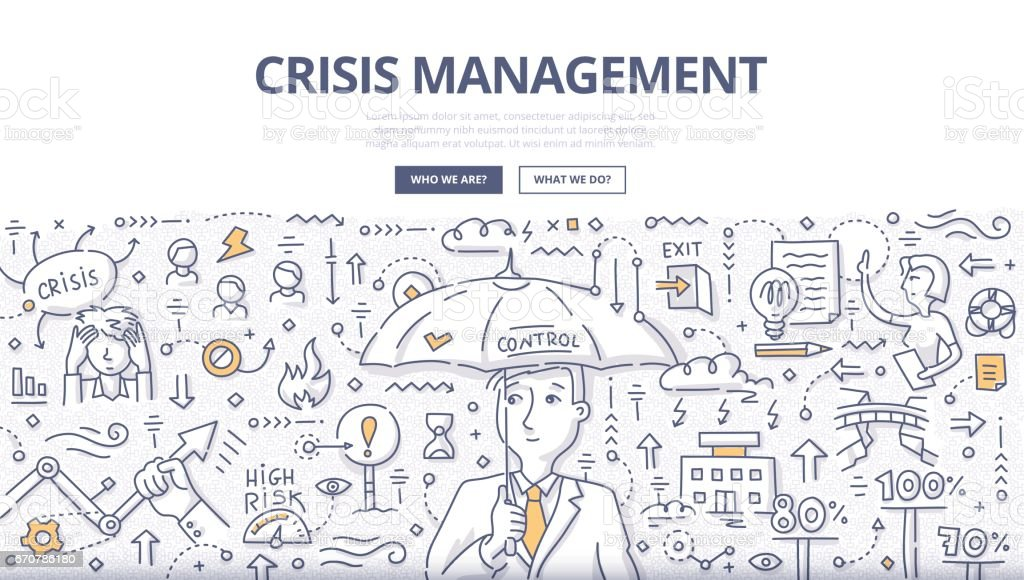 Crisis Management Doodle Concept vector art illustration