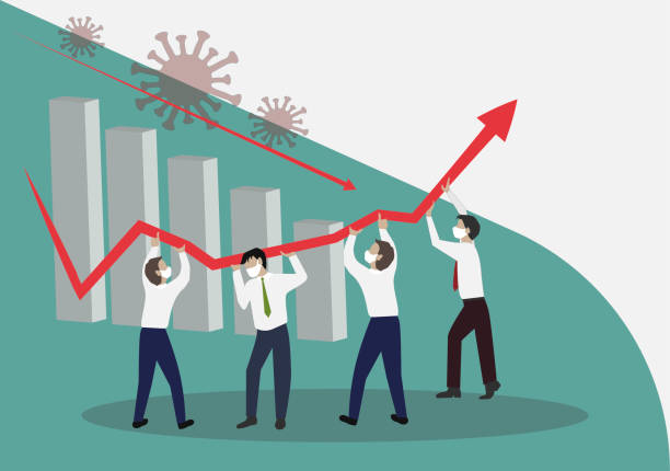ilustrações, clipart, desenhos animados e ícones de gerenciamento de crises, conceito de trabalho em equipe - economia