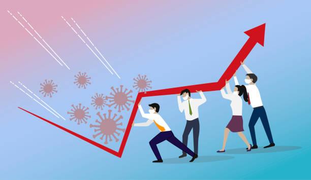 ilustrações, clipart, desenhos animados e ícones de gerenciamento de crises, conceito de trabalho em equipe. - economia