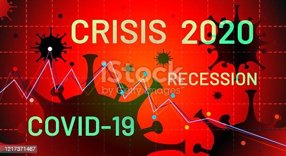 Crisis recession due to viral concept. Coronavirus crisis of 2020. Coronacrisis. Covid-19 pandemic is affecting the global economy. Corona virus weakens economy. Vector illustration
