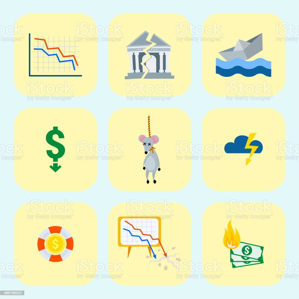 Crisis Symbols Concept Problem Economy Banking Business Finance