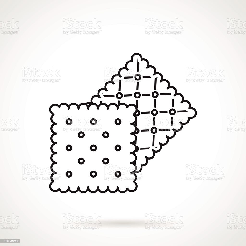 Crisp cookie black line vector icon vector art illustration