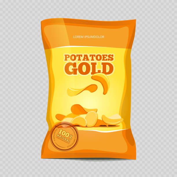 scharfe kartoffel-chips snacks - farbchips stock-grafiken, -clipart, -cartoons und -symbole
