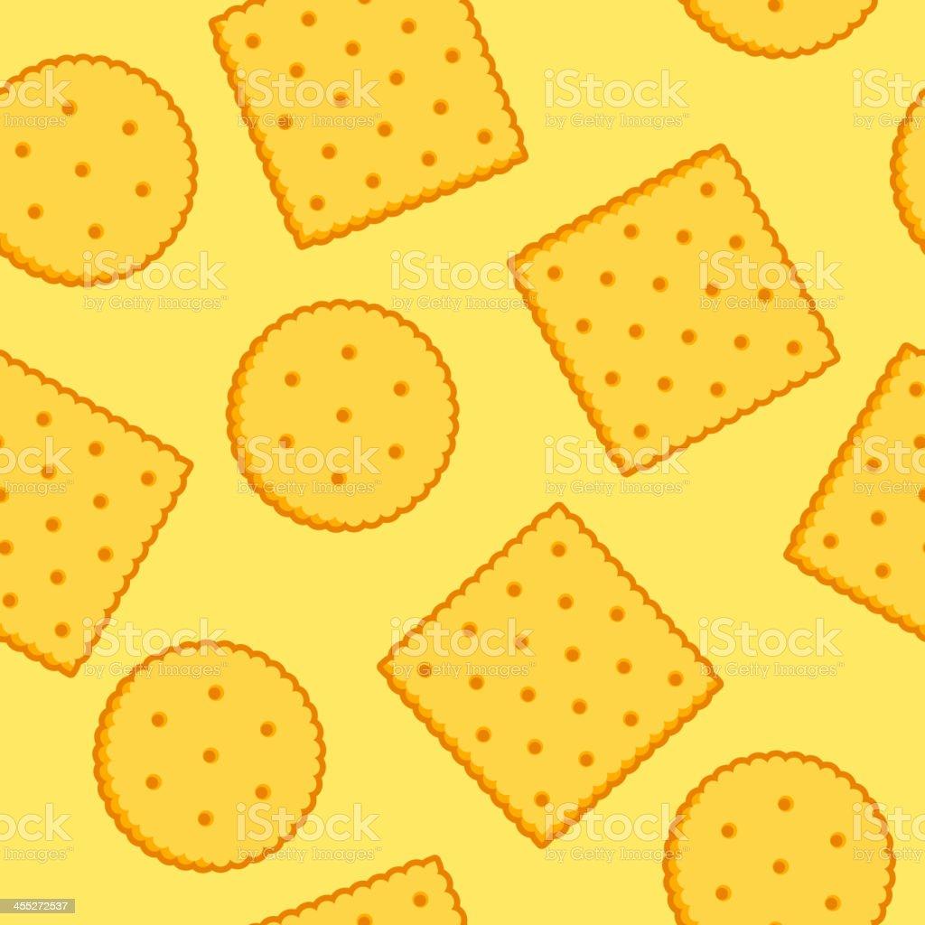 Crispy Crackers seamless texture - yellow vector art illustration