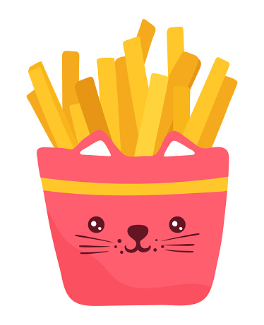 Crispy french fries, fast food, bright funny kawaii, cartoon style, design, flat vector illustration, isolated on white.