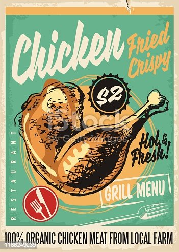 Crispy fried chicken legs retro restaurant menu design with artistic hand drawing. Vintage poster for diner, snack bar or fast food restaurant with grilled chicken meat. Vector illustration.