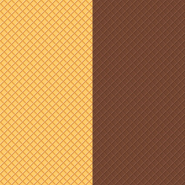 Crispy Wafers Texture Vector Waffles Seamless Patterns. Food Background. Crispy Wafers Texture. bread backgrounds stock illustrations