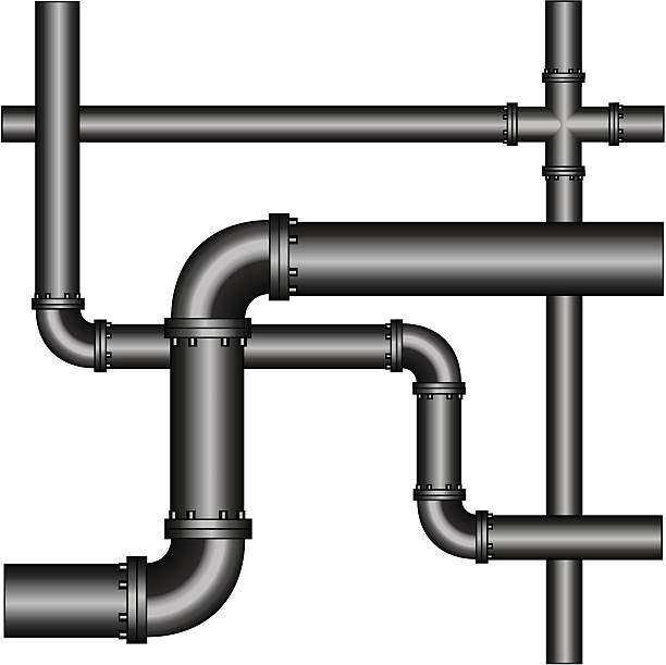 A crisscross network of grey metal pipes vector art illustration