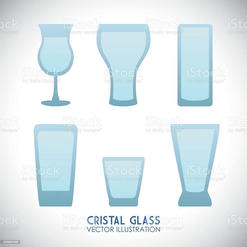 cristal glass design vector art illustration