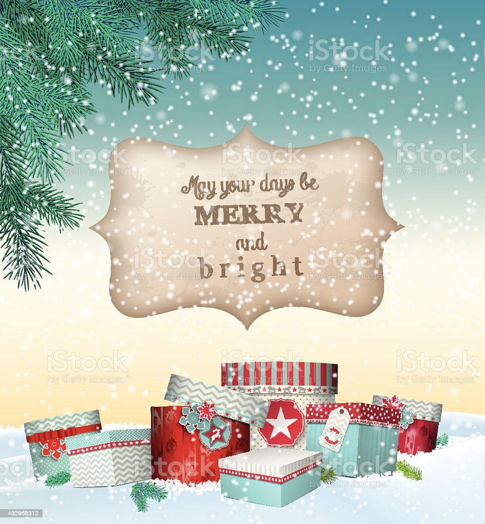 Cristmas greeting card with gift boxes in snowdrift, winter theme vector art illustration