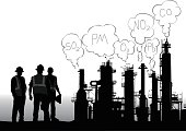 A vector silhouette illustration of a processing plant and the workers beside it.  From the pipes are emissions coulds with the names of chemicals on them.