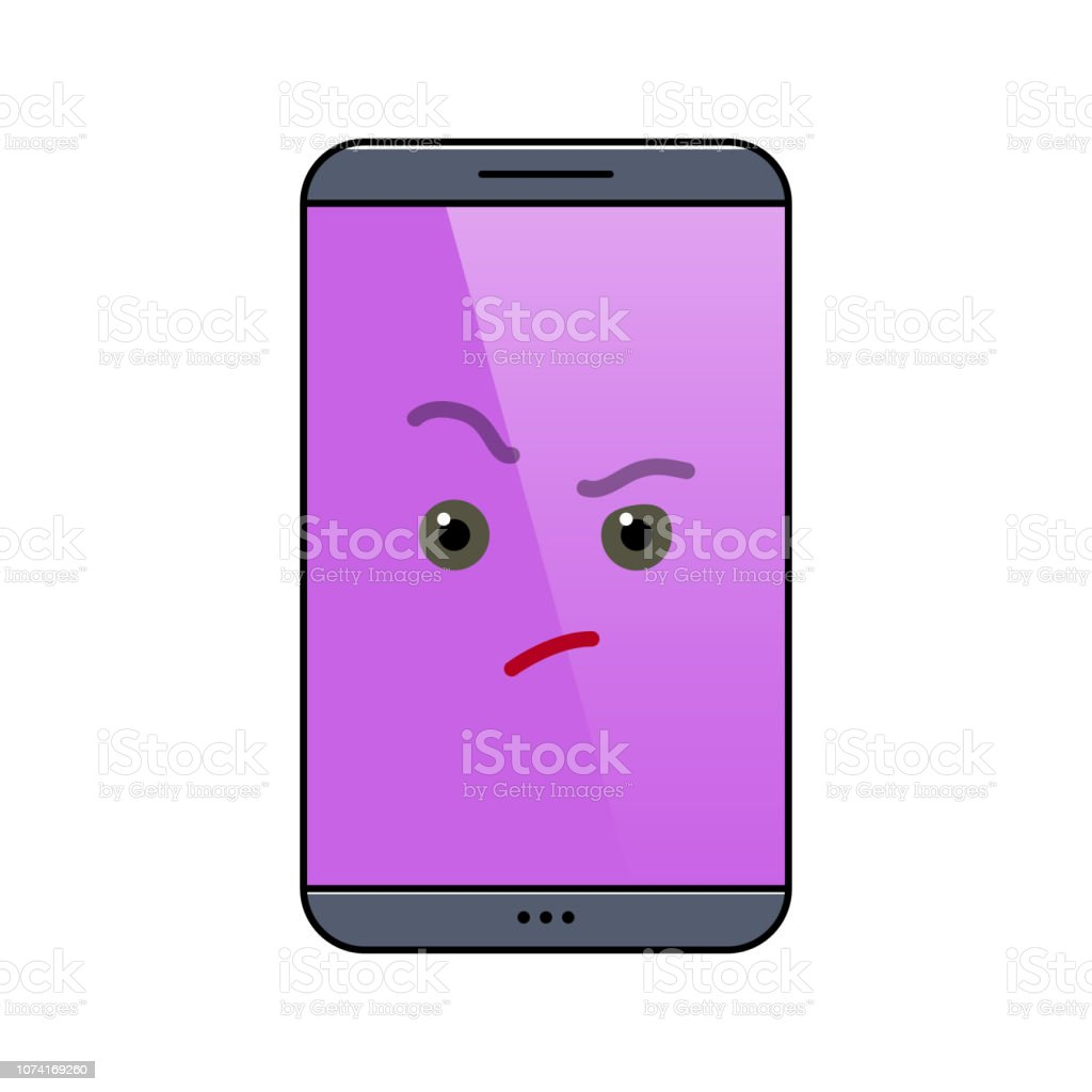 Critical mobile phone isolated emoticon vector art illustration