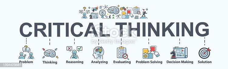 istock Critical thinking banner web icon for problem solving, creative, thinking, reasoning, analyzing, decision making and solution. Minimal vector cartoon infographic. 1204423551
