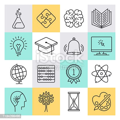 Modern critical thinking and education outline style concept with symbols. Line vector icon sets for infographics and web designs.