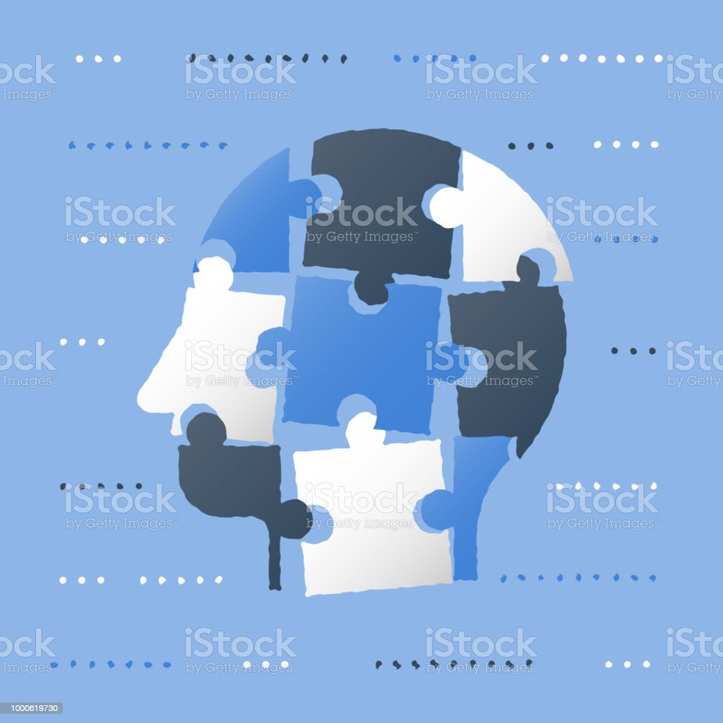 Critical thinking, puzzle head, neurology concept, decision making, education strategy, human resources, simple solutions vector art illustration