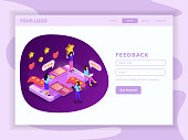 CRM system feed back isometric landing web page with user account and interface elements vector illustration