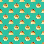 Crème Caramel French Seamless Pattern