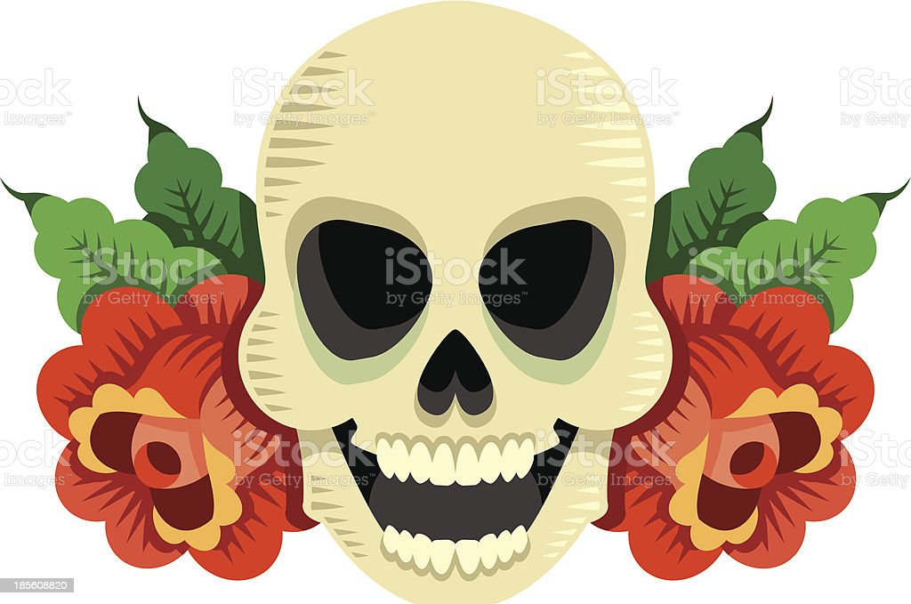crâne avec des roses royalty-free stock vector art