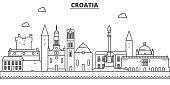 Croatia architecture line skyline illustration. Linear vector cityscape with famous landmarks, city sights, design icons. Landscape wtih editable strokes