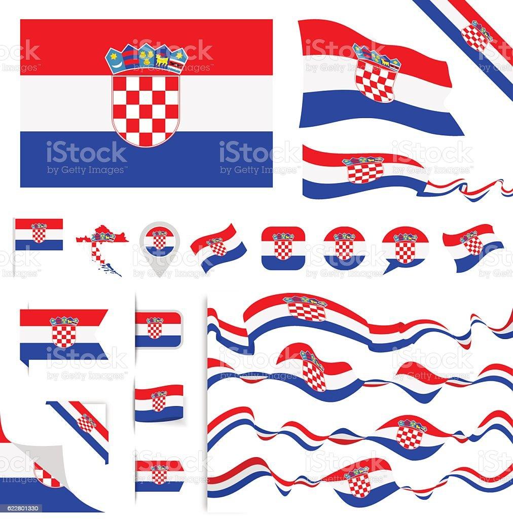 Croatia Flag Set - ilustración de arte vectorial
