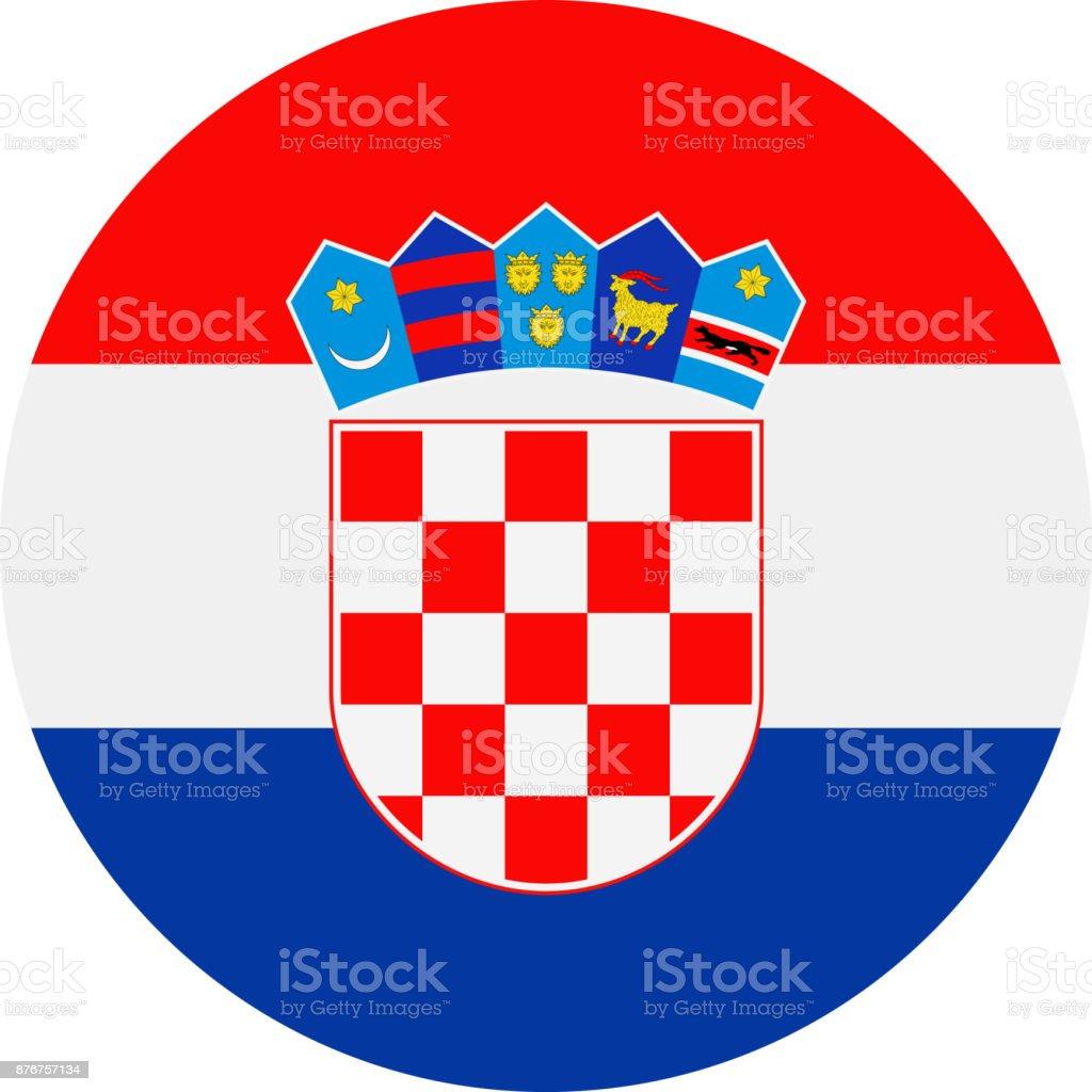 Vector bandera de Croacia redondo plano icono - ilustración de arte vectorial