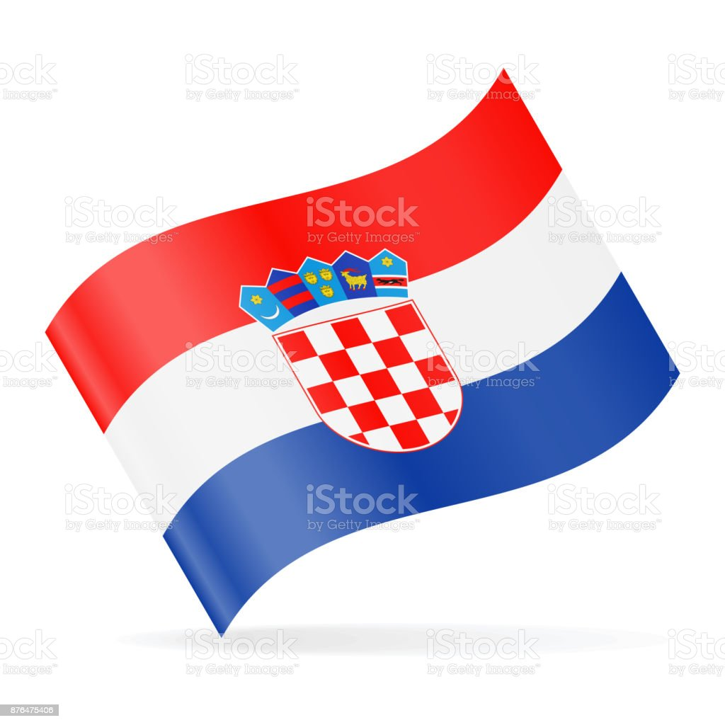 Bandera Croacia Vector icono que agita - ilustración de arte vectorial