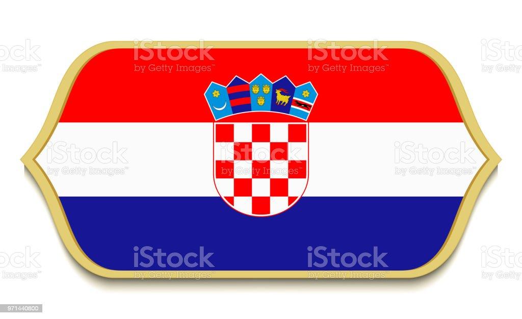 Croacia. Botón de icono de bandera plana nacional. Croata símbolo aislada sobre fondo blanco. - ilustración de arte vectorial