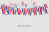 Croatia garland flag with confetti on gray background, Hang bunting for Croatia celebration template banner.