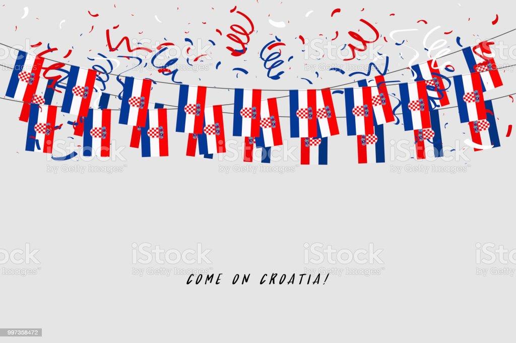 Bandera de Croacia garland con confeti sobre fondo gris, colgar banderines para banner de plantilla de celebración de Croacia. - ilustración de arte vectorial