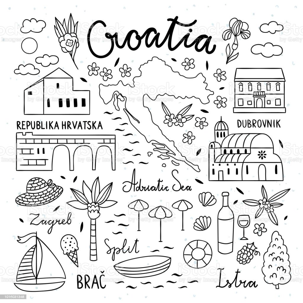Croatia Hand Drawn Illustrations Travel Icons Of Croatia Cute Hand