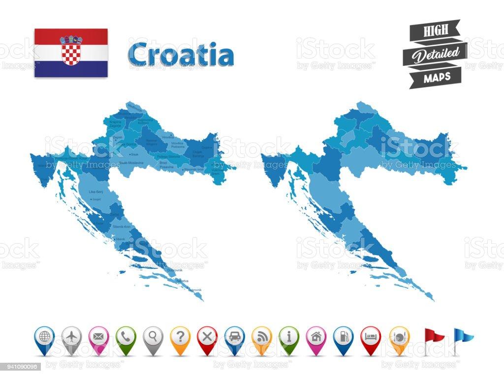 Croatie Grande Carte Détaillée Avec Collection Dicônes Gps