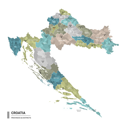 Croatia higt detailed map with subdivisions. Administrative map of Croatia with districts and cities name, colored by states and administrative districts. Vector illustration.