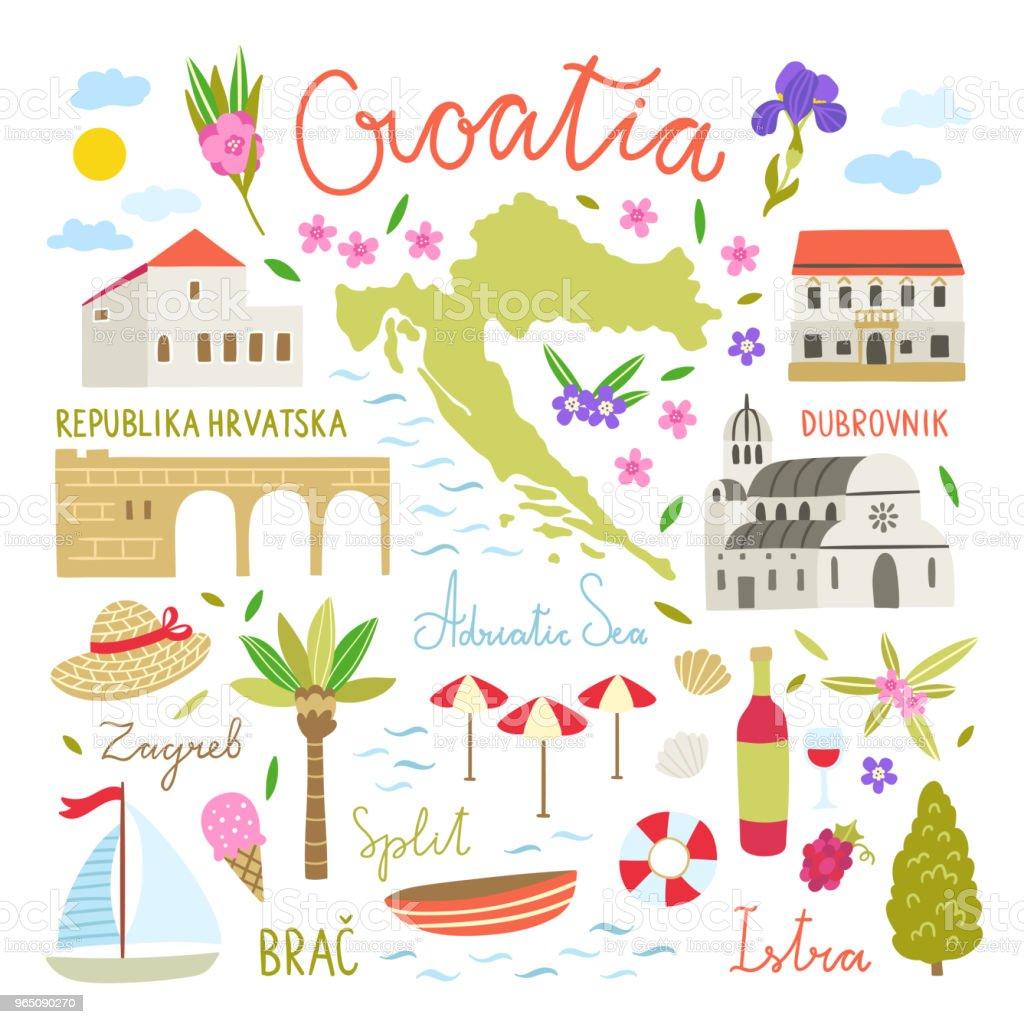 Croatia illustration symbols. Cute travel icons about Croatia royalty-free croatia illustration symbols cute travel icons about croatia stock vector art & more images of ancient