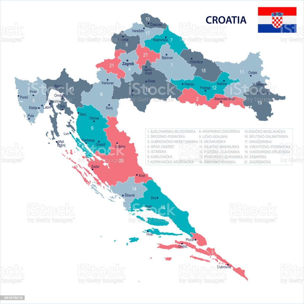 Croatia Map And Flag Detailed Vector Illustration Stock Vector Art ...