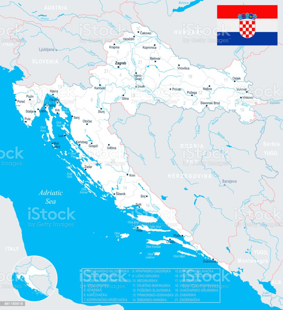 Croatia Map Detailed Vector Illustration Stock Vector Art & More ...