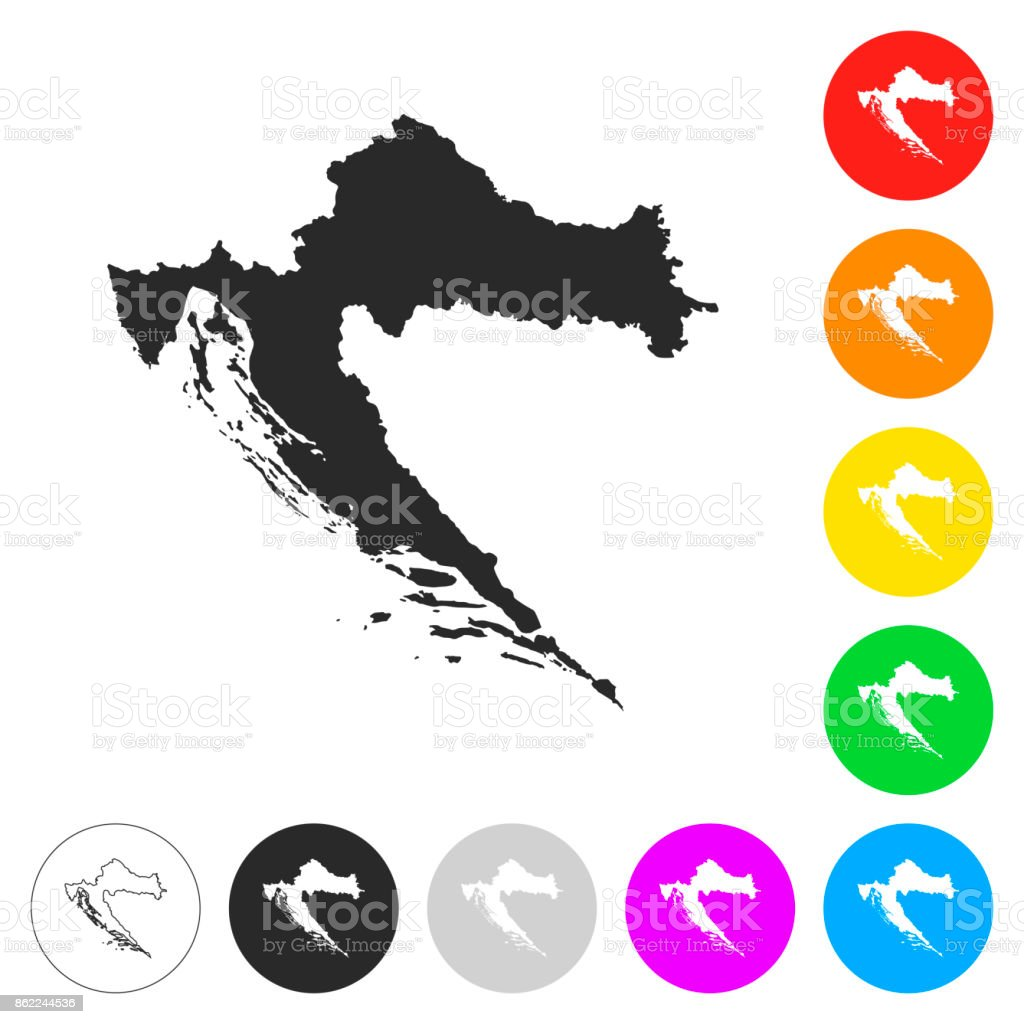 Croatia Map Flat Icons On Different Color Buttons Stock Vector Art ...
