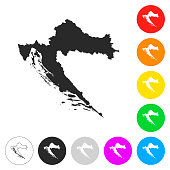 Croatia map - Flat icons on different color buttons
