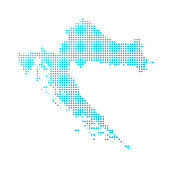 Croatia map of blue dots on white background
