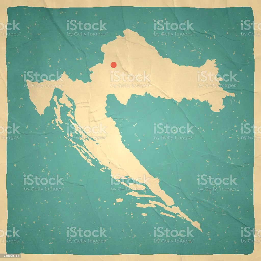 Croatia Map On Old Paper Vintage Texture Stock Vector Art More