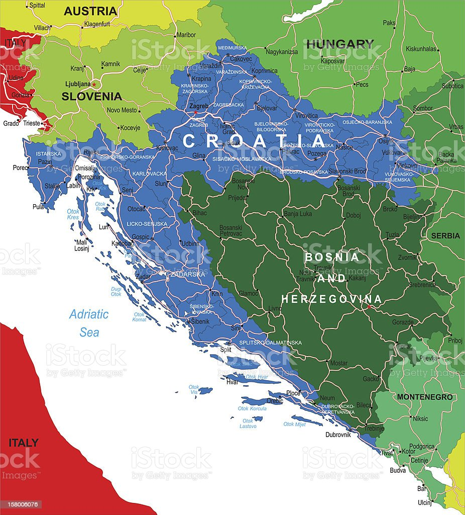 Croatia map vector art illustration
