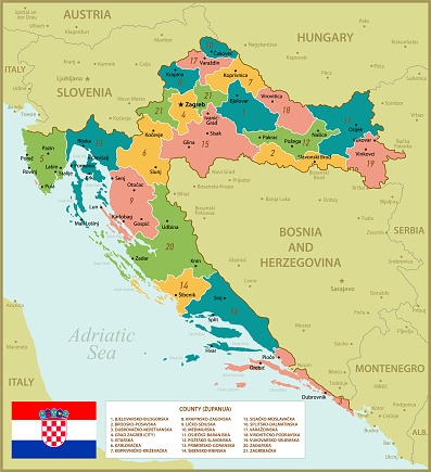 Croatia Map. Vintage Illustration with Regions and National Flag