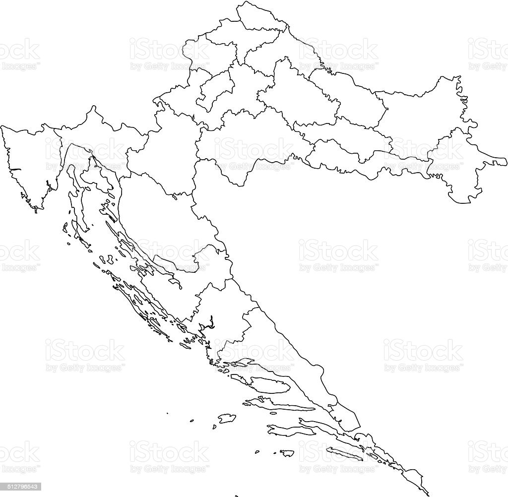 Croatia Map White Stock Vector Art More Images of Backgrounds