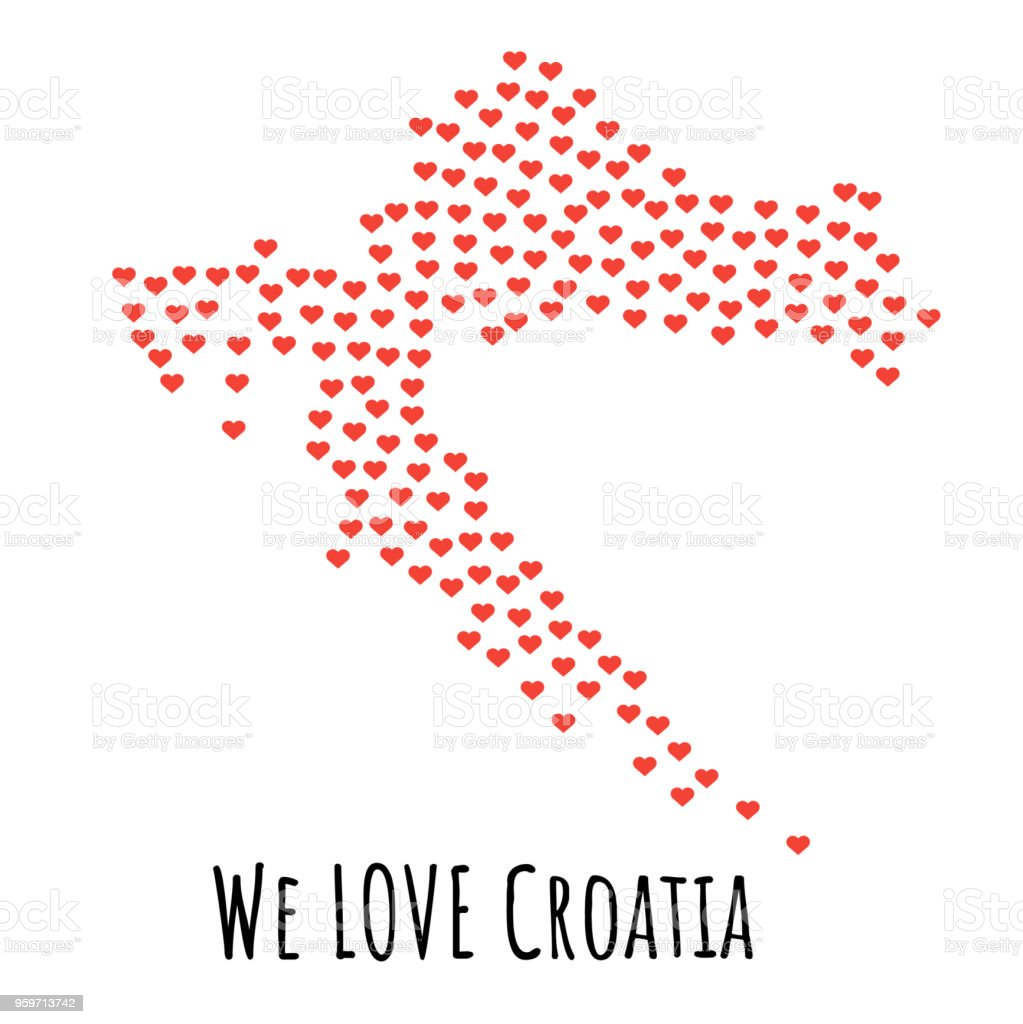 Croatia Map With Red Hearts Symbol Of Love Abstract Background Stock