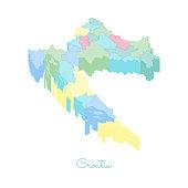 Croatia region map: colorful isometric top view.