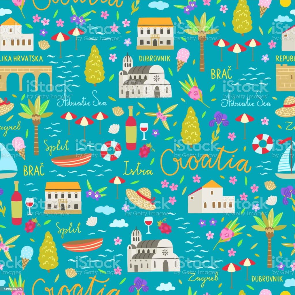 Croatia Seamless Pattern Travel Symbols Of Croatia Cute
